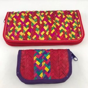Straw Basket Weave Colorful Wallet Clutch Combo